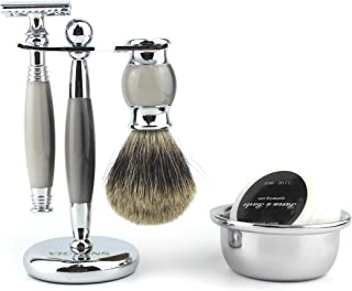 VICYUNS Luxury Grooming Shaving Set for Men Including Double-sided Razor, Allergy Shaving Soap, Stainless Steel Mirror Bowl, Hair Shaving Brush,10 Replacement Blades (Gray)