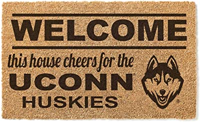 KH Sports Fan Connecticut Huskies Welcome Team Coir Doormat, Multi