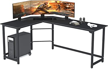 SZXKT L Shaped Desk Home Office Corner Desk Computer Table Sturdy Gaming Desk Writing Desk Workstation(Black)