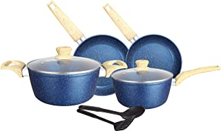 Insiya Granite/Marble Coated Aluminium Non Stick 8-piece Premium Cookware Set Blue, Pans and Pots Set with Glass Lids,Dish...