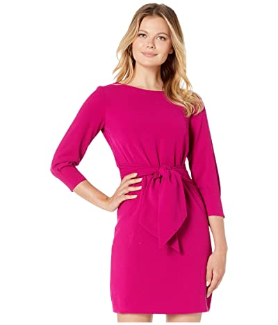 Vince Camuto Crepe Long Sleeve Dress with Waist Tie (Magenta) Women