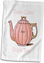 3D Rose Image of Keep Calm and Drink Tea with Vintage Teapot Hand Towel, 15 x 22