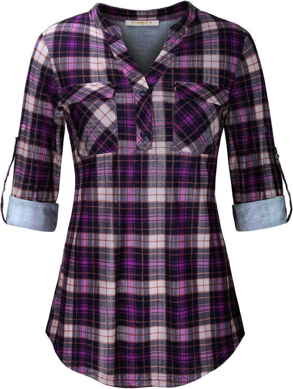 BAIKEA Women's Roll Tab Button Down Plaid Shirt Tunic Blouses Chest Pockets