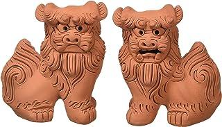 朝日陶器 オブジェ 赤 - 手造りシーサー 小横立 素焼 雌雄セット