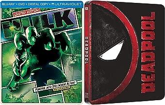 DeadHulk Deadpool Steelbook 1 Blu Ray + DVD & Exclusive Limited Edition Hulk Blu Ray Disc Super Hero Movie Pack