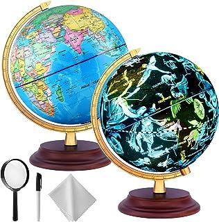 TTKTK Globe World Globe با پایه های چوبی - نمایش شب ستاره الگوهای صورت فلکی جهان با نقشه دقیق جهان ، لامپ LED ساخته شده ، بدون باتری مورد نیاز ، هدیه آموزشی ، دکور ایستاده در شب