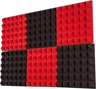 "Foamily 6 Pack - Red/Charcoal Acoustic Foam Sound Absorption Pyramid Studio Treatment Wall Panels, 2"" X 12"" X 12"""