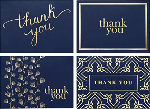 100 Thank You Cards Bulk - Thank You Notes, Navy Blue & Gold - Blank Note Cards with Envelopes - Perfect for Business...