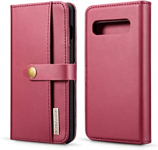 Samsung Galaxy S10 Wallet Case, Lambskin Detachable Folio Style Stand Feature Credit Card Slots Photo Frame Horizontal Flip Case Magnetic Closure for Galaxy S10 6.1 Inch (Red)