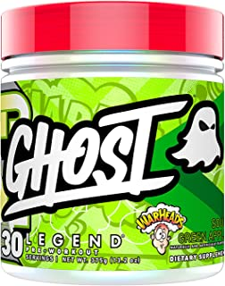 GHOST Legend 30 Servings Pre-Workout Supplement (Warheads Sour Green Apple, 1 Container)
