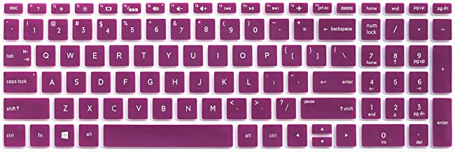 """Silicone Keyboard Cover for 15.6"""" HP Pavilion x360 15-BR075NR, HP Envy X360 15M-BP012DX 15M-BP011DX 15M-BQ021DX, HP Pavilion 15-bs 15-bw 15-cb 15-cc 15-cd Series, 17.3"""" HP Envy 17M-AE111DX (Purple)"""