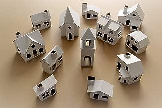 ItemsBox Pack of 12 DIY Putz Style Glitter Houses UNASSEMBLED Corrugated Cardboard Houses