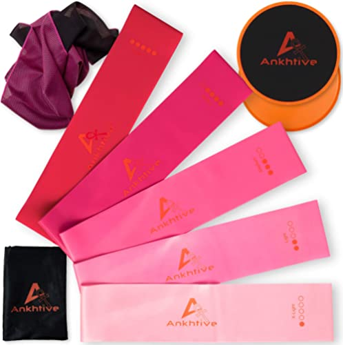 ANKHTIVE Wide Resistance Booty Bands Set of 5, 100% Natural Latex, 70mm Wide, Bundle With Gliding Discs Exercise Slid...