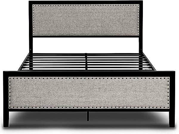 Amooly 软垫金属平台床架铆接床头板脚踏板强钢板条支持下床存储女王灰色