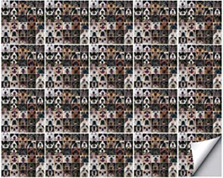 YOLIYANA Dog Lover Decor Strong Adhesion Ceramic Tile Stickers 20 Pieces,Dogs in Studio Chihuahua Chow Chow Cocker Spaniel Poodle Purebred Sheepdog for Living Room Kitchen,One Size