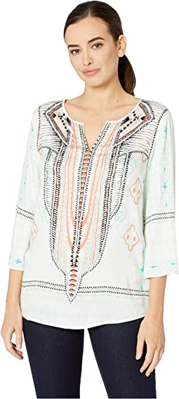 3/4 Printed Stretch Challis Bell Sleeve Blouse