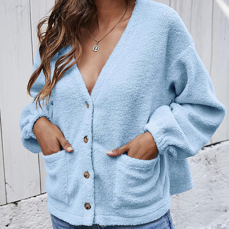 A2A Womens Short Teddy Coat Fuzzy Fleece Reversible Open Front Hooded Outwear Jacket Button Down Plush Lamb Wool Top Coat
