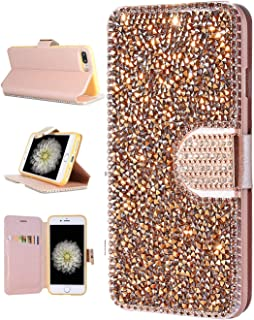 FLYEE iPhone 8 Plus Wallet Case, iPhone 7 Plus Bling Case, Handcraft Luxury Rhinestone Flip Case Magnetic Crystal Protective Leather with Card Slot for iPhone 7+ iPhone 8+ 5.5 inch [Rose Gold]