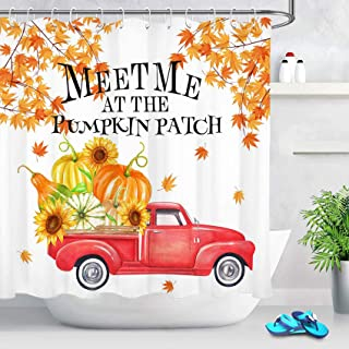 ECOTOB Fall Pumpkin Truck Thanksgiving Shower Curtain Decor, Autumn Quotes Meet Me at The Pumpkin Patch Shower Curtains 72X72 inch Polyester Fabric Bathroom Decorations Bath Curtains Hooks Included
