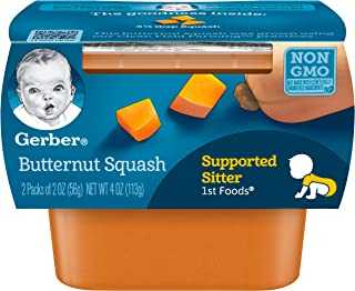 Gerber 1st Foods, Butternut Squash Pureed Baby Food, 2 Ounce Tubs, 2 Count (Pack of 8)