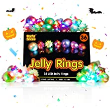 PartySticks Light Up Jelly Rings - 36pk LED Party Favors, Glow in The Dark Party Supplies for Kids and Adults in Assorted Colors