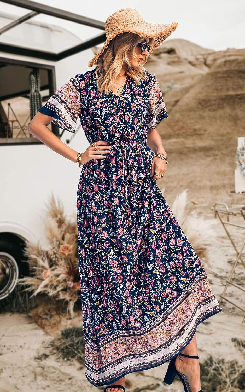 PRETTYGARDEN Women's Casual Floral Print V Neck Short Sleeve Summer Boho Beach Dress High Waist Long Maxi Dresses