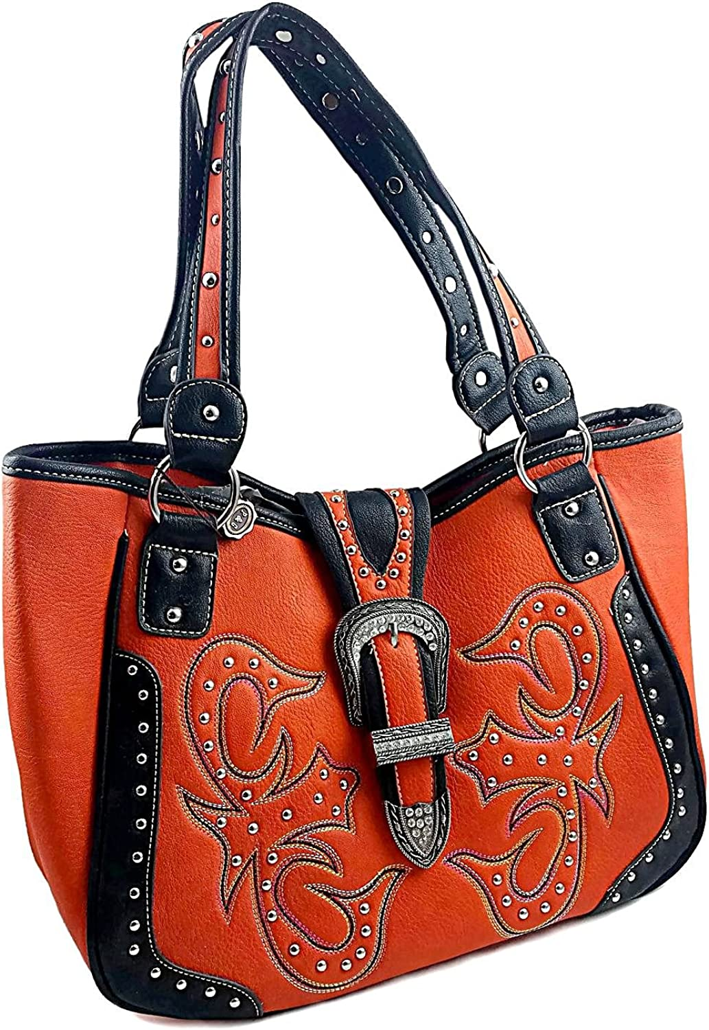 Leila 100% Leather Top Handle Handbag, West Design, Jeweled Accents & Buckle. Lined. Persimmon & Black