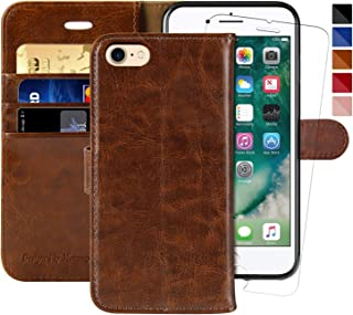 iPhone 7 Wallet Case/iPhone 8 Wallet Case,4.7-inch,MONASAY [Glass Screen Protector Included] Flip Folio Leather Cell Phone Cover with Credit Card Holder for Apple iPhone 7/8 (Brown1)