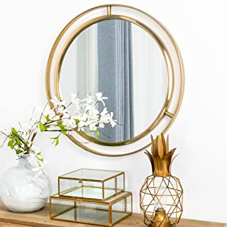 """Glitzhome 24"""" Decorative Wall Mirrors Modern Deluxe Metal Round Wall Mirror with Golden Circle Ring Frame for Bedroom Bath..."""