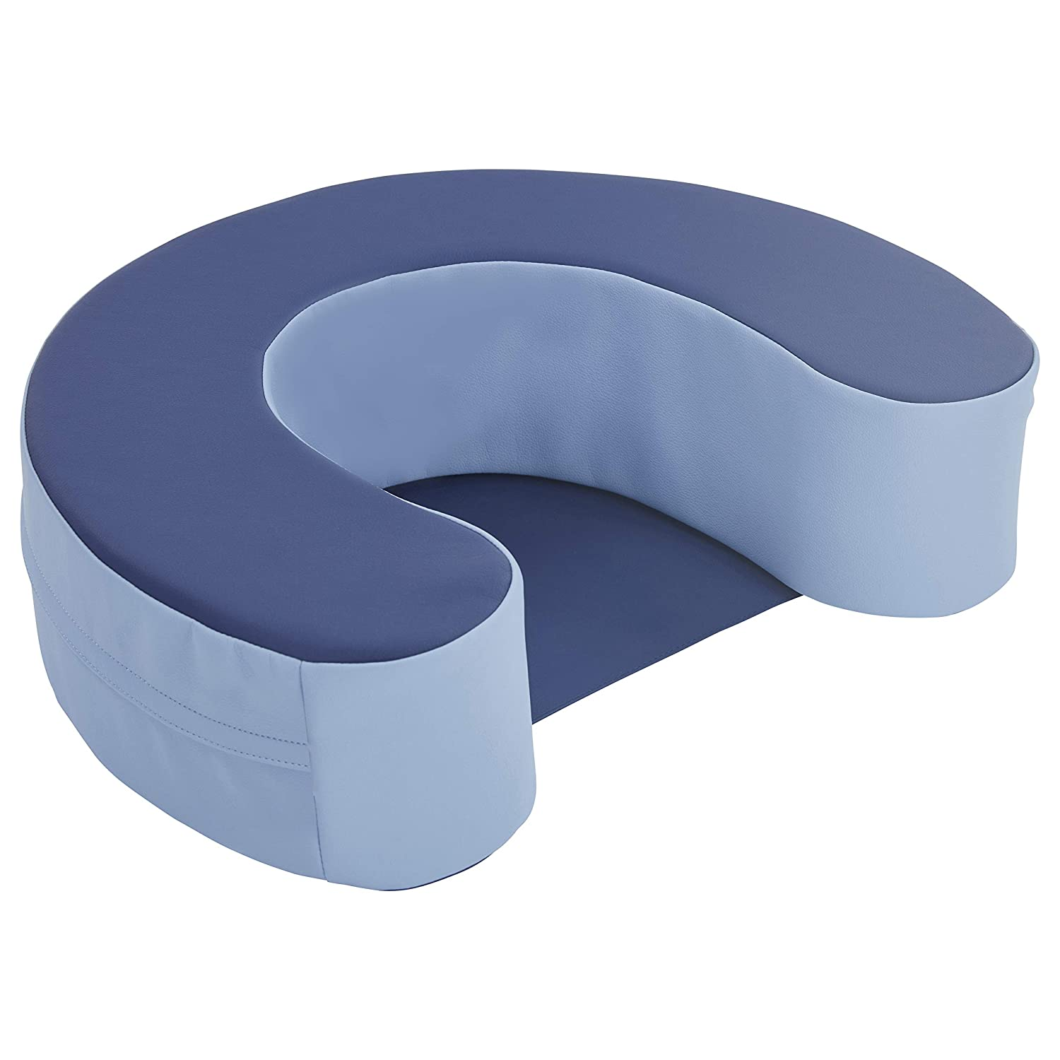 FDP SoftScape Sit and Support Ring for Babies and Infants; Learn to Sit, Balance, Strengthen Muscles, Cushioned Foam Floor Seat with Non-Slip Bottom for Nursey, Playroom, Daycare - Navy/Powder Blue