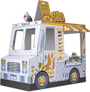 Melissa & Doug Food Truck Indoor Playhouse (Corrugate Ice Cream and Barbecue Truck, Nearly 4 Feet Long, Great Gift for Girls and Boys - Best for 3, 4, and 5 Year Olds)
