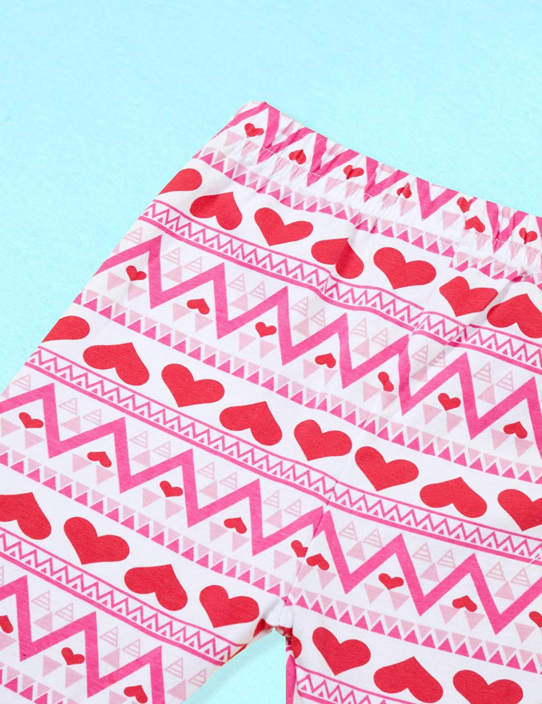 KANGKANG Valentines Day Outfit Baby Kids Girl Long Sleeve Dress Heart Print Pants Set