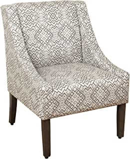 HomePop Miller Modern Swoop Arm Accent Chair, Gray Geometric