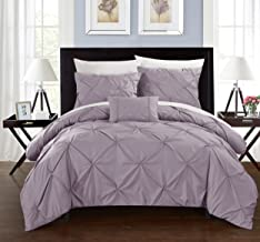 Chic Home Daya 4 Piece Duvet Cover Set Ruffled Pinch Pleat Design Embellished Zipper Closure Bedding, King, Lavender