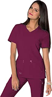 Landau Miracle V-Neck Scrub Top for Women with 6 Pockets