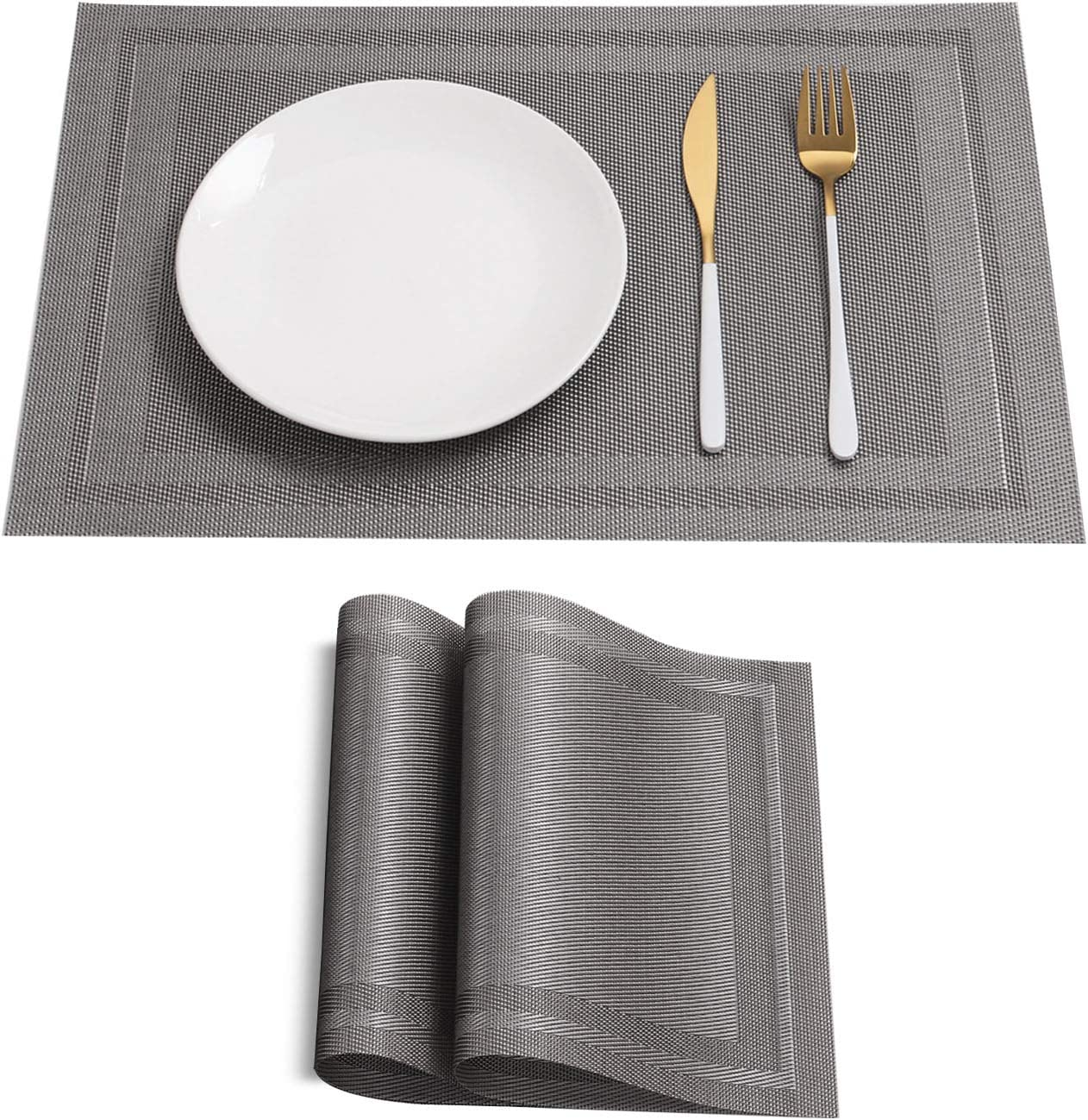 HeloHo Silver Placemats Set NEW before 67% OFF of fixed price selling of Ma 2 Heat-Resistant Kitchen Table