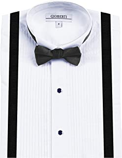 Gioberti Boy's Wing Tip Collar White Tuxedo Dress Shirt with Bow Tie & Suspenders and Metal Studs