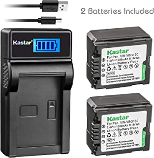 Kastar Battery (X2) & LCD Slim USB Charger for Panasonic VW-VBG070, VW-VBG130, VWVBG260 and SDR-H40, SDR-H80 Series, HDC-HS700, TM700, HS300, TM300, HS250, SD20, HS20, HDC-SDT750 Camcorders etc.