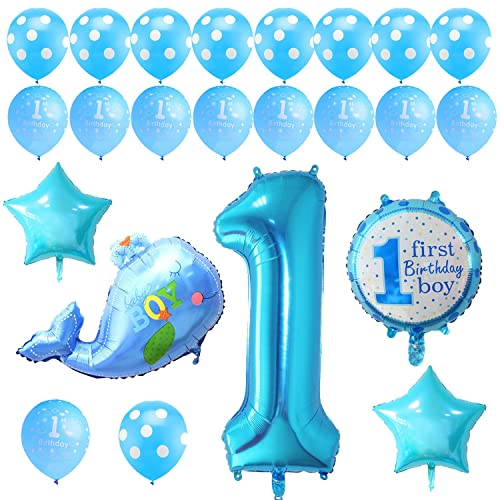 KUMEED Boy 1st Birthday Party Balloons Decoration Set Blue Latex And Letters Foil Kit
