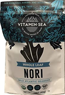 VITAMINSEA Organic Nori Whole Leaf - Laver Seaweed 1.5 oz / 42.5 G Atlantic Coast Maine Sea Vegetables - USDA - Vegan - Kosher Certified Wild Crafted and Perfect for Keto or Paleo Diets (NW1.5)