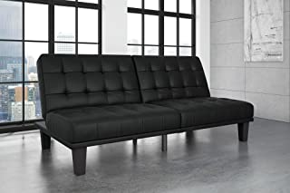 DHP Dexter Futon and Recliner Lounger, Multi-functional Sofa for Small Spaces, Black Faux Leather
