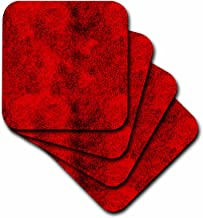 3dRose CST_66006_2 Red and Black Digital Squares-Soft Coasters, Set of 8
