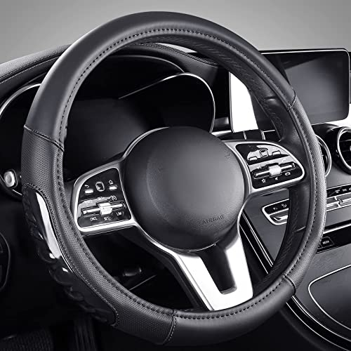 high quality Steering Wheel Cover with Textured popular Silicone Grip, Breathable Leather Auto Steering Wheel Protector, 15 Inch Universal lowest fit for Most Car Truck SUV, Black outlet online sale
