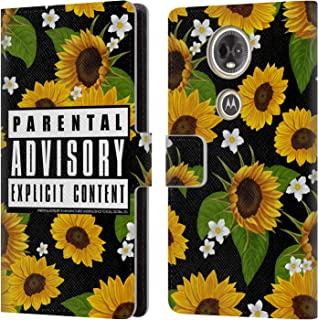 Official Parental Advisory Sunflowers Urban Street Style Leather Book Wallet Case Cover Compatible for Motorola Moto E5 Plus