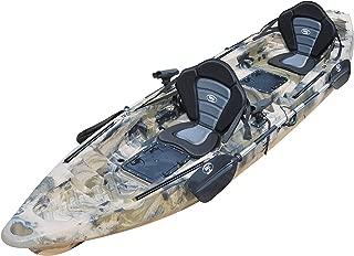 BKC TK122 12.9' Tandem Fishing Kayak W/Premium Memory Foam Padded Seats, Paddles, 4 Rod Holders Included 2-3 Person Angler Kayak