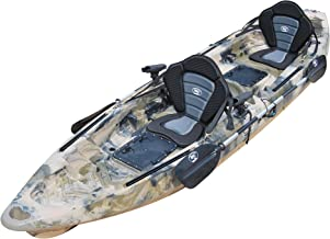 BKC TK122 12.9' Tandem Fishing Kayak W/Premium Memory Foam Padded Seats, Paddles, 4 Rod Holders Included 2-3 Person Angler Kayak