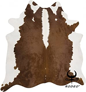 RODEO Brown and White Cowhide Rug Hair on hides Cow Skins Large Size 6X7 ft