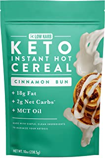 Keto Instant Hot Breakfast Cereal Cinnamon Bun with MCT Oil - 2g Net Carbs - Perfect Keto Diet Macros - Moderate Protein, High Fat - 10oz