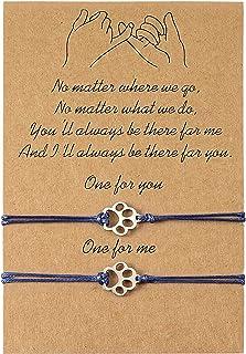 VGWON 2 Pcs Dog Paw Print Bracelets for Women Teens Girl Boy Handmade Adjustable String Charm Bracelet Friendship Gifts fo...