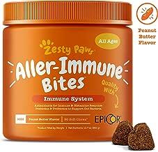 Allergy Immune Supplement for Dogs Peanut Butter - With Omega 3 Wild Alaskan Salmon Fish Oil, EpiCor, Digestive Prebiotics & Probiotics - Seasonal Allergies + Skin Itch & Hot Spots - 90 Chew Treats